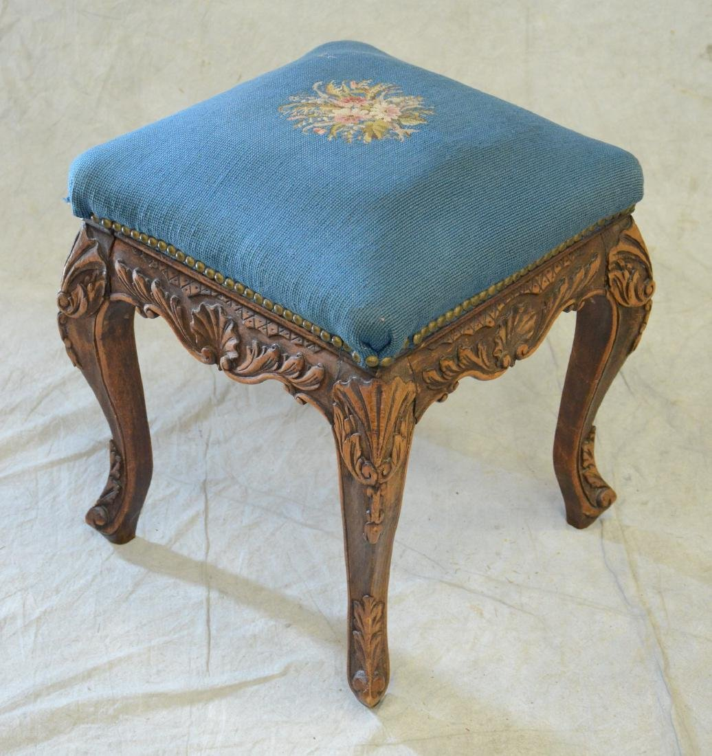 Needlepoint Upholstered Carved Wood Footstool
