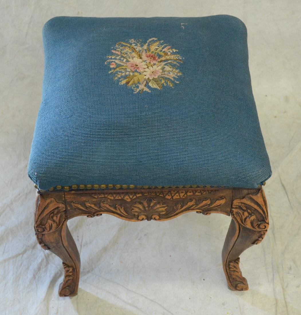 Needlepoint Upholstered Carved Wood Footstool - 2