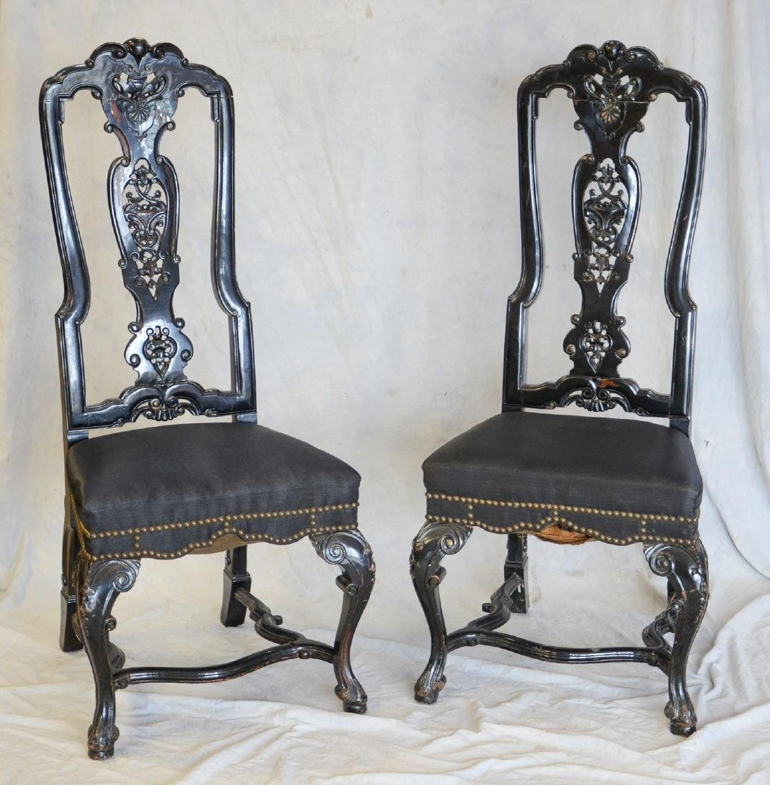 Pair of black painted and upholstered side chairs
