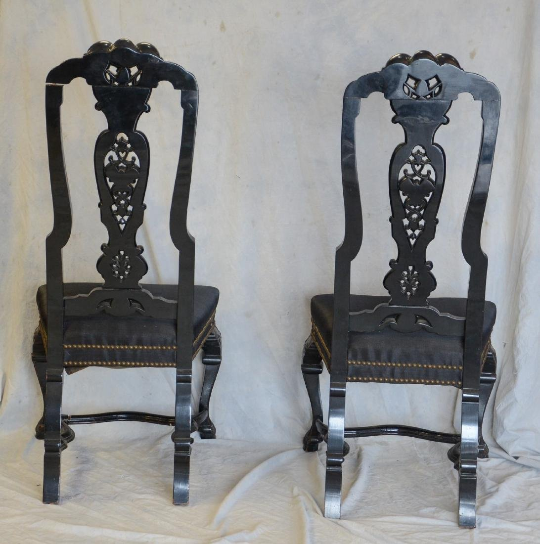 Pair of black painted and upholstered side chairs - 4