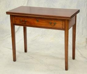 Mahogany Chippendale card table with drawer, 18th c