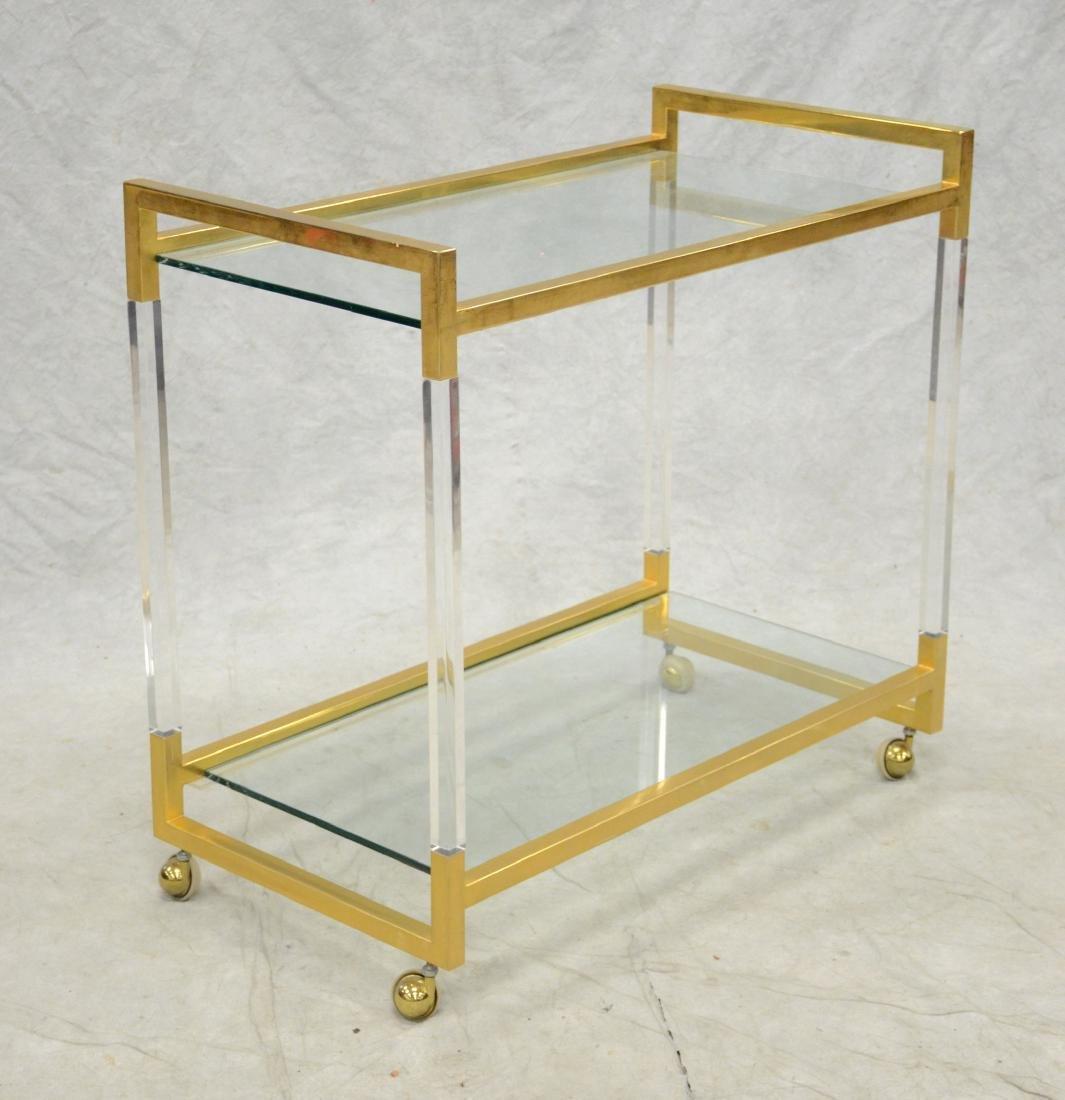 Romeo Rega Style Brass and Lucite Bar Cart