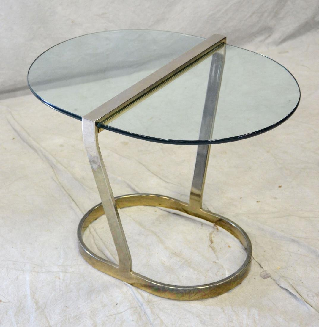 Mid Century Modern Style Chrome & Glass Side Table