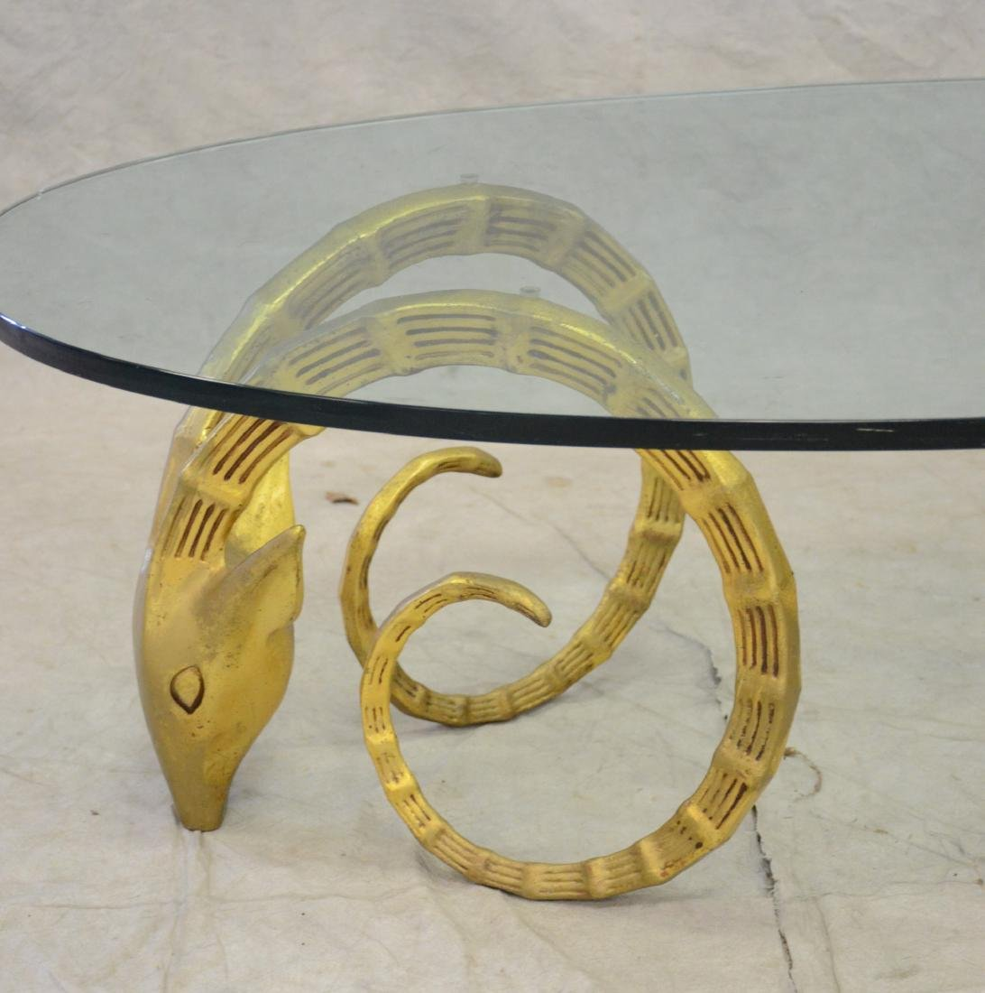 Glass top Coffee Table with Ibex Heads Base - 2