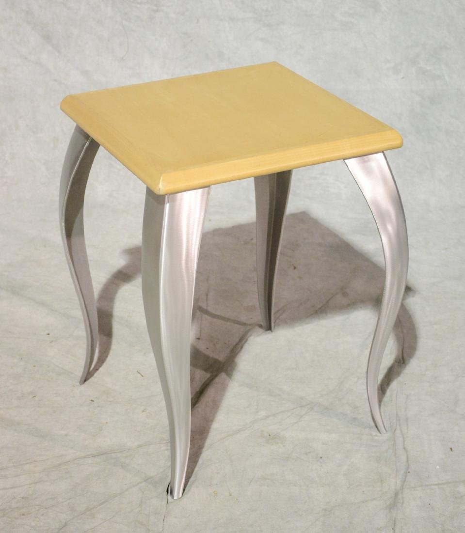 Modern design aluminum wood top lamp table, Enos