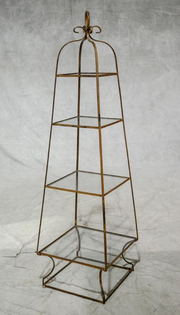 """Metal 4 tier plant or curio shelf, 66"""" h"""
