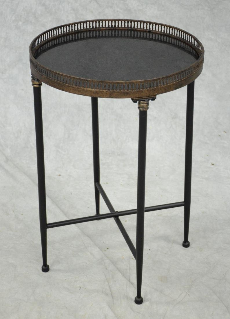 Marble-top round occasional table with metal gallery