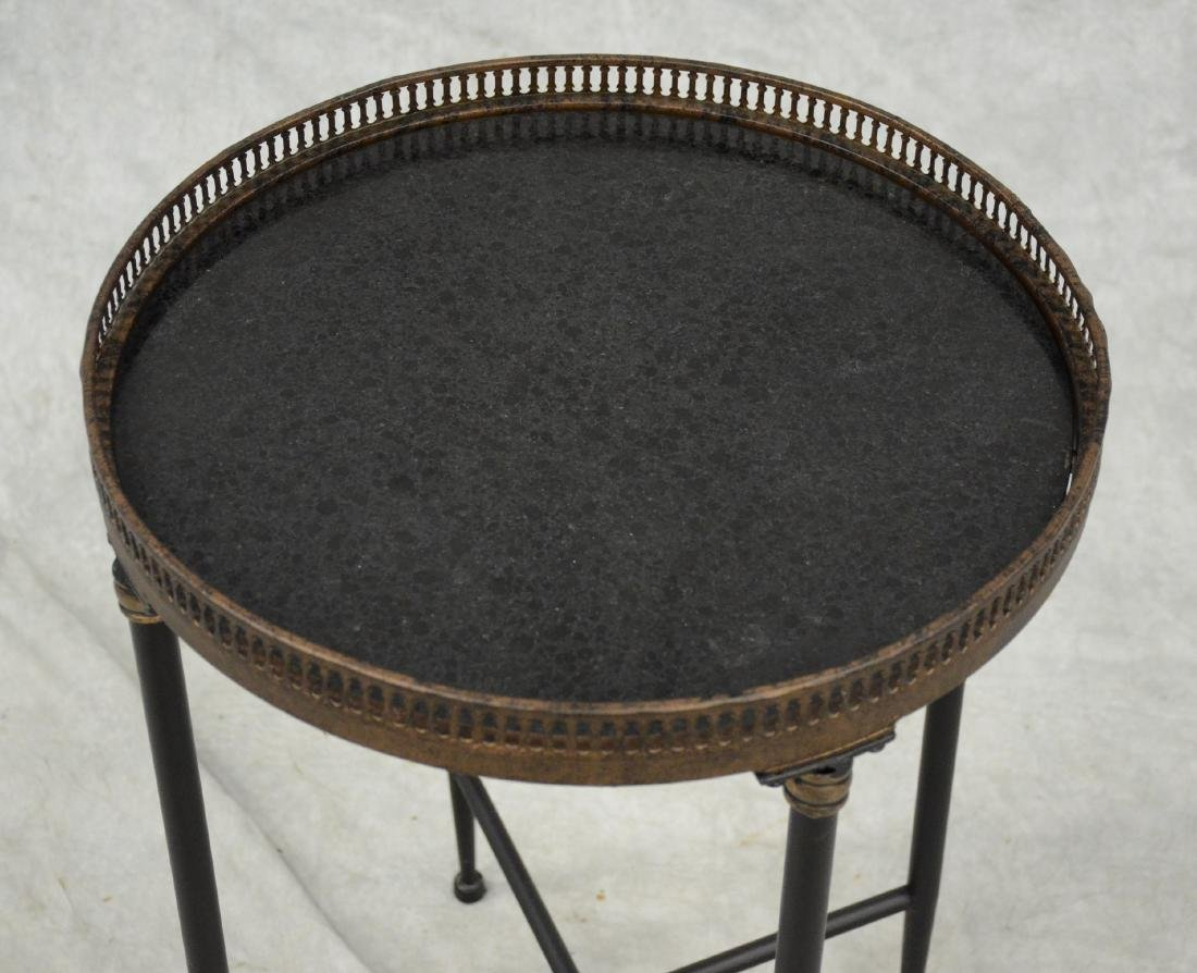 Marble-top round occasional table with metal gallery - 2