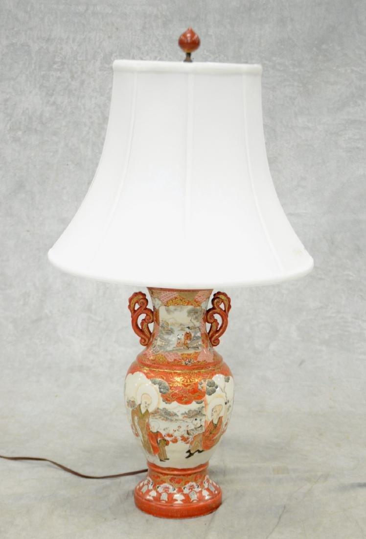 Japanese Kutani Vase Mounted as a Lamp
