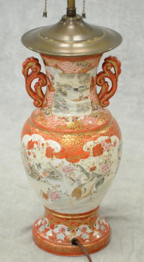 Japanese Kutani Vase Mounted as a Lamp - 3