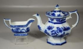 Two (2) Pieces of English Flow Blue Pottery