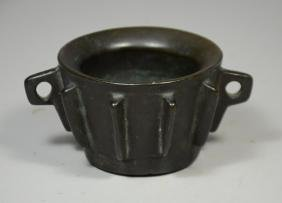 Japanese bronze double handled bowl
