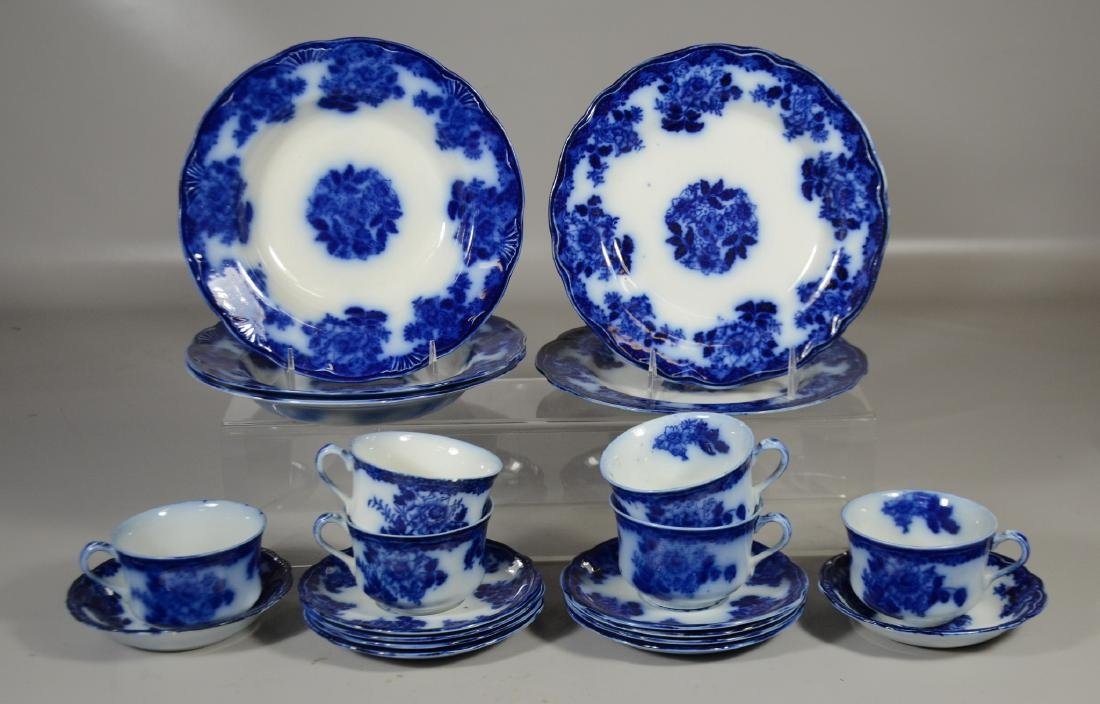 21 Pieces of English Flow Blue Pottery