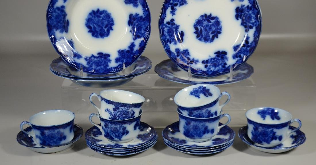 21 Pieces of English Flow Blue Pottery - 3
