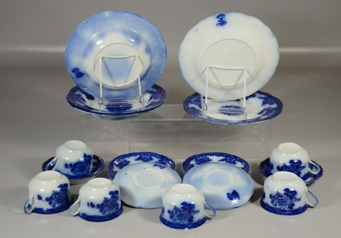 21 Pieces of English Flow Blue Pottery - 4