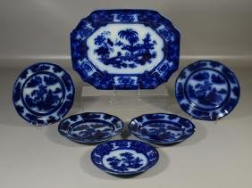 Six (6) Pieces of English Flow Blue Pottery