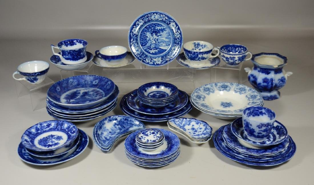 52 Pieces of English Blue and White Pottery