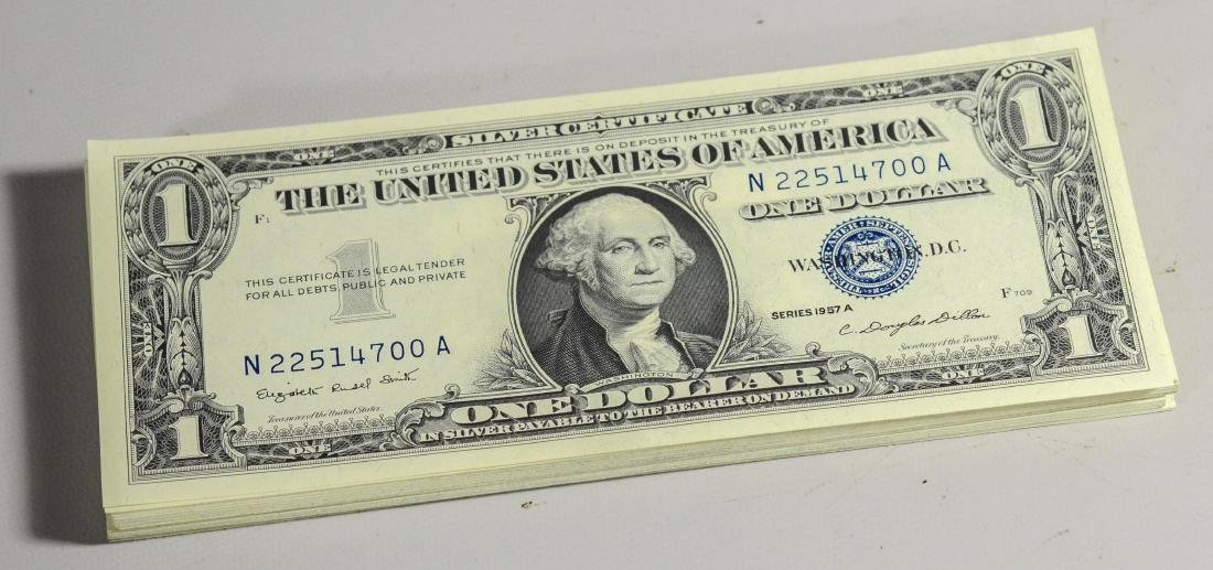 (59) Uncirculated Silver Certificates:  (36) 1957A,