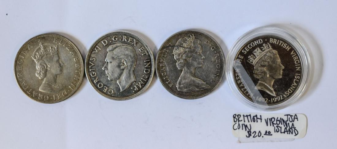 (2) Canadian silver Dollars, (1) British Virgin Islands
