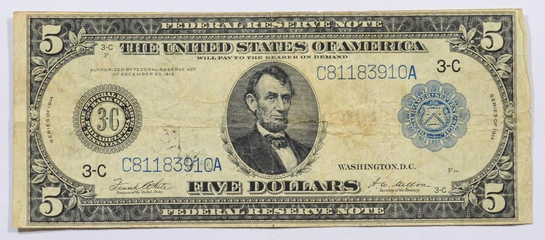 1914 Series $5 Federal Reserve Note, VG