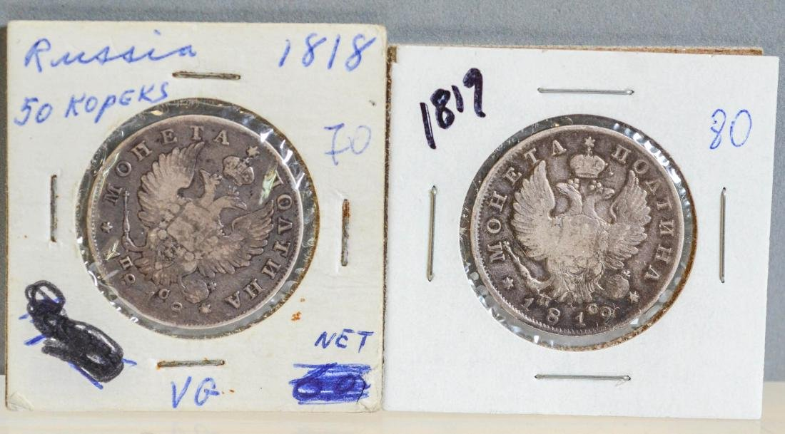 (2) Russian 50 Kopek coins, 1818 and 1819, VG
