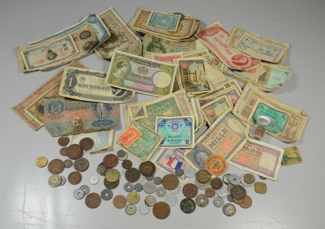 Paper bag lot WWII souvenir coins/currency