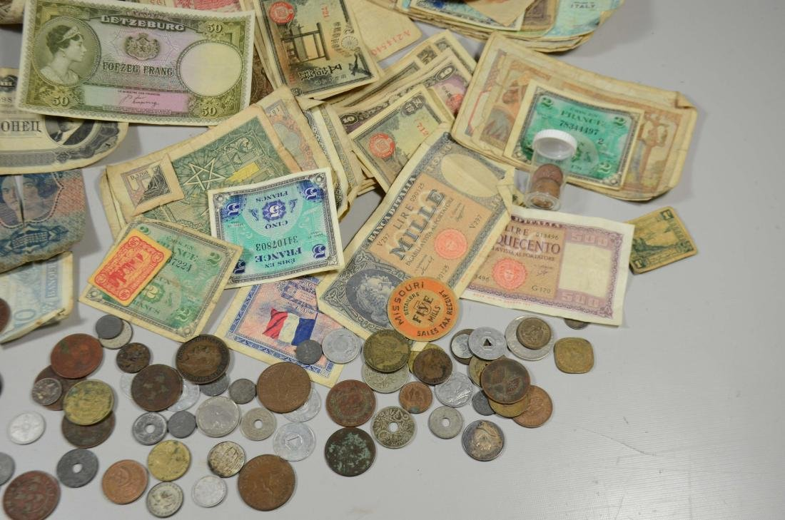 Paper bag lot WWII souvenir coins/currency - 4