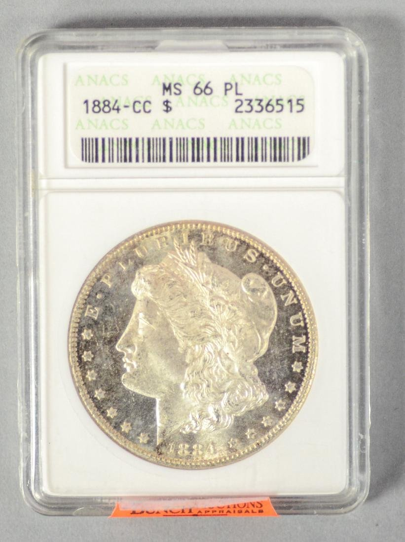 1884-CC Morgan silver dollar, ANACS MS66 PL, with cameo