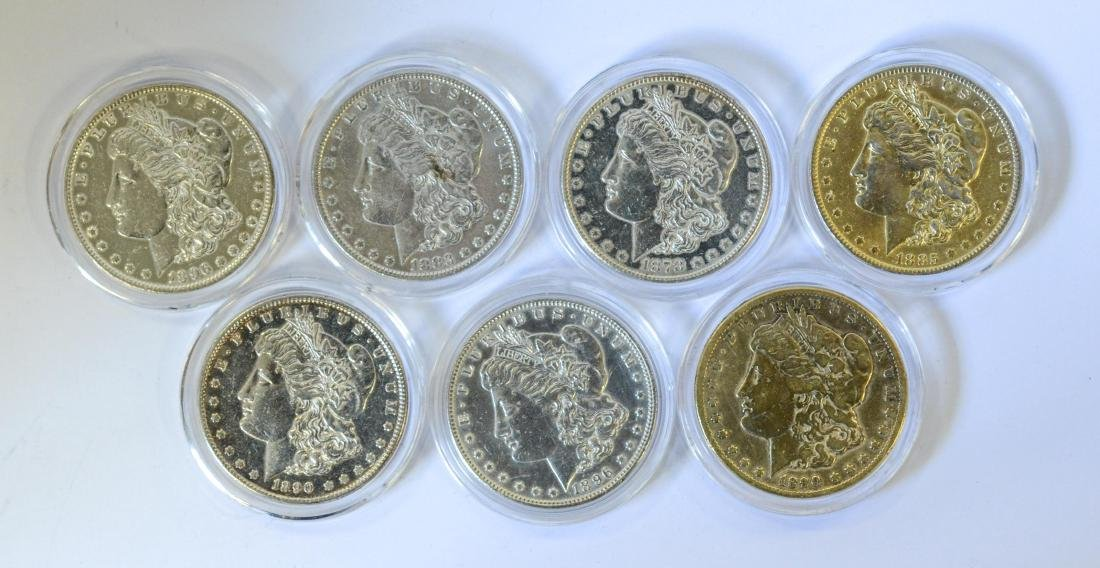 (7) Morgan silver dollars, various dates, VG-VF