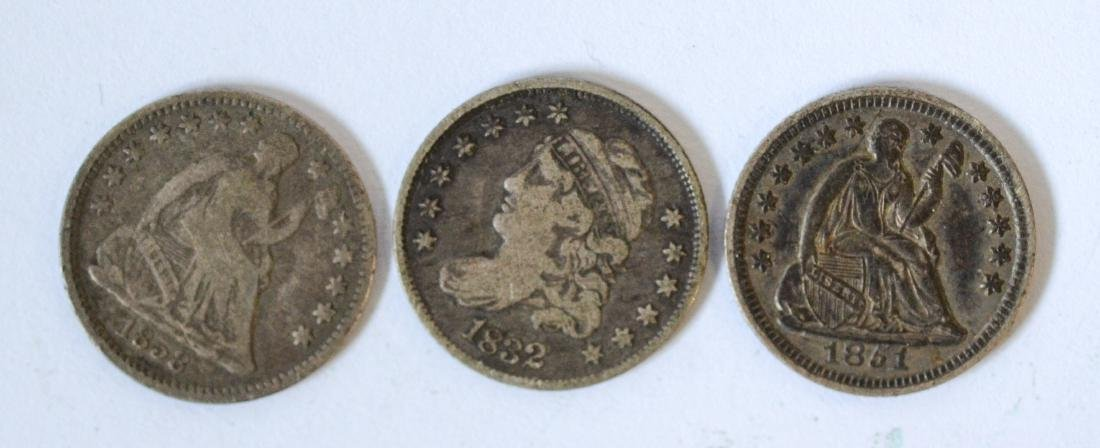 (3) Half dimes, 1832, 1851 and 1858