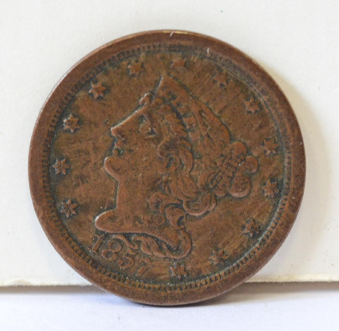 1857 Half cent VF