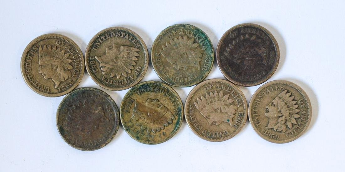 (8) Copper  nickel Indian cents