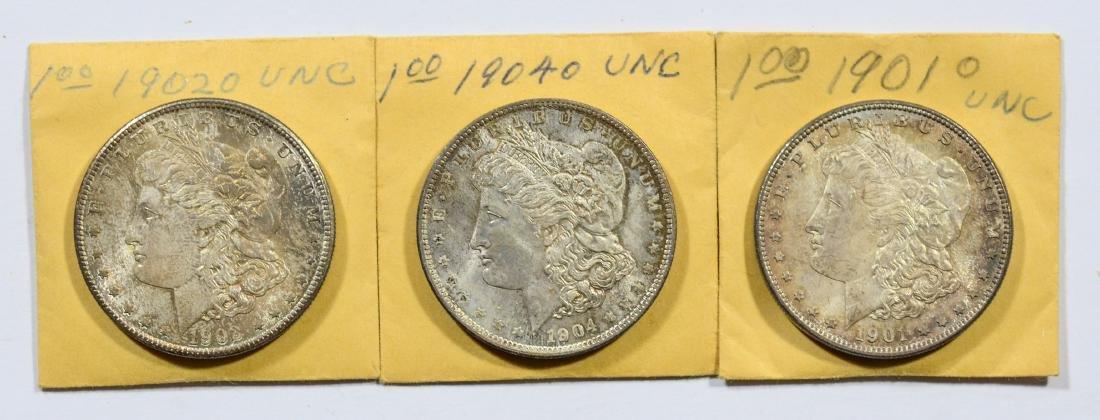 1901-O, 1902-O, 1904-O Morgan dollars, nice UNC