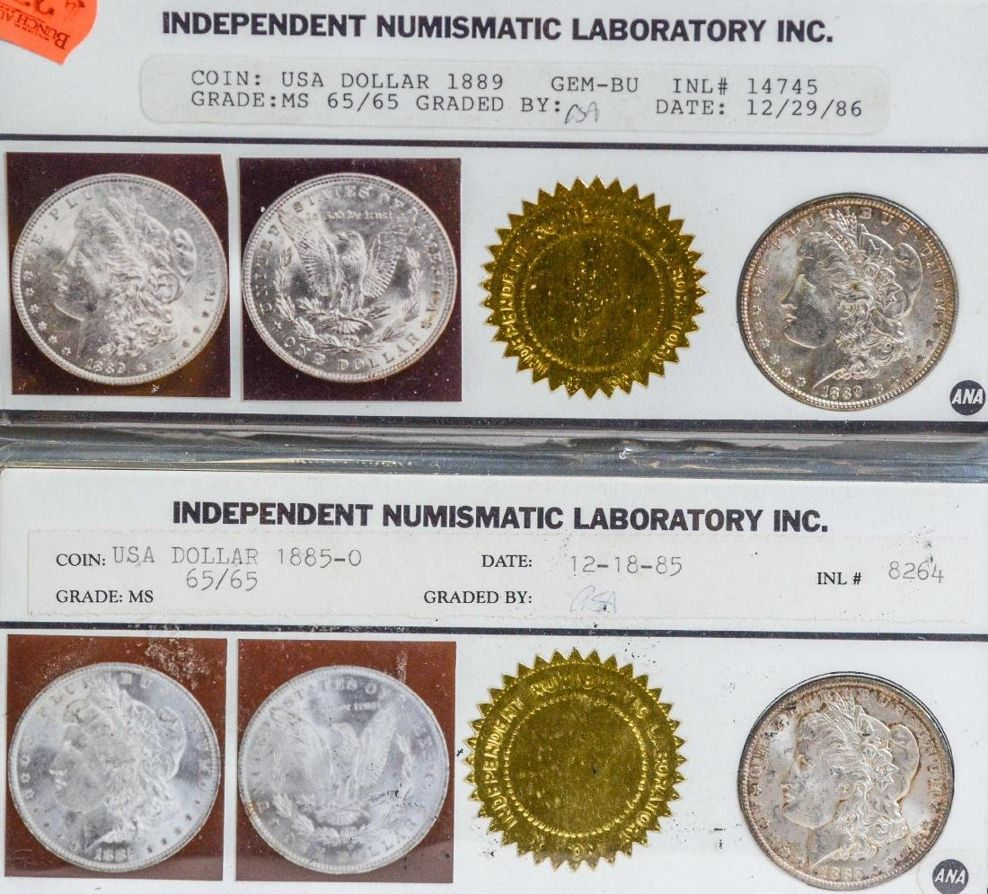 1885-O and 1889 Morgan Silver Dollars, INL Certified