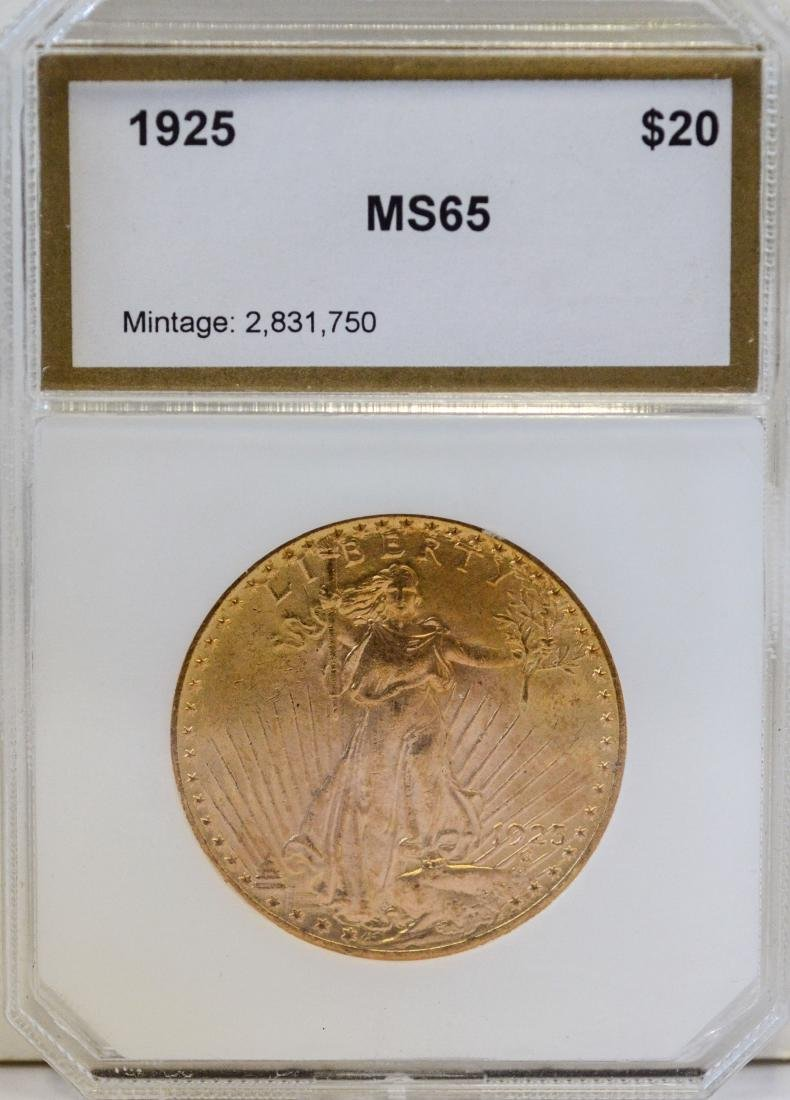 1925 $20 St, Gaudens gold coin, PCI MS-65