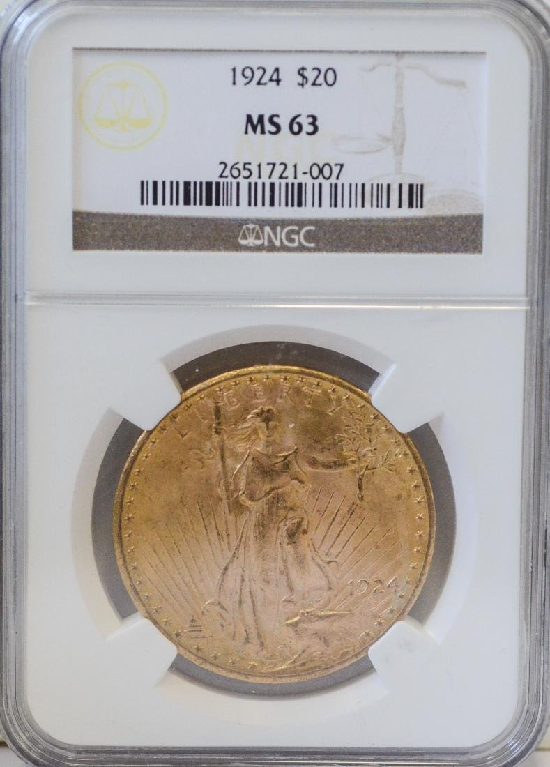 1924 $20 St, Gaudens gold coin, NGC MS-63