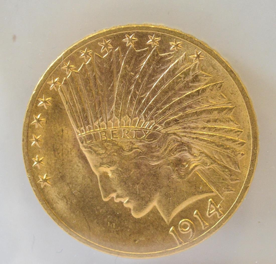 1914 Ten Dollar Indian UNC gold coin