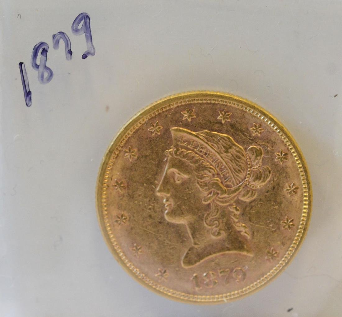 1879 Ten Dollar Liberty AU gold coin