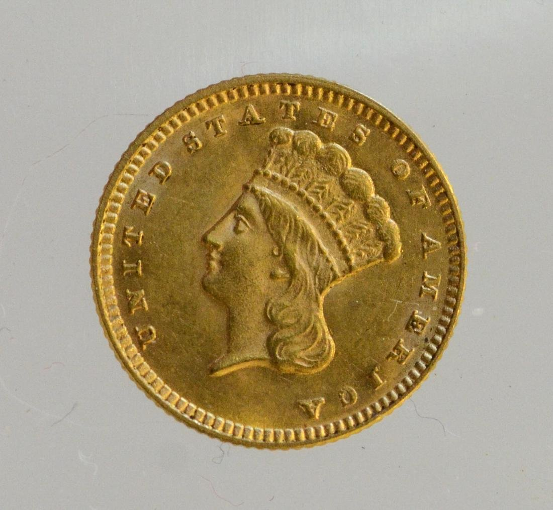 1874 Gold Dollar Type 3 gold coin