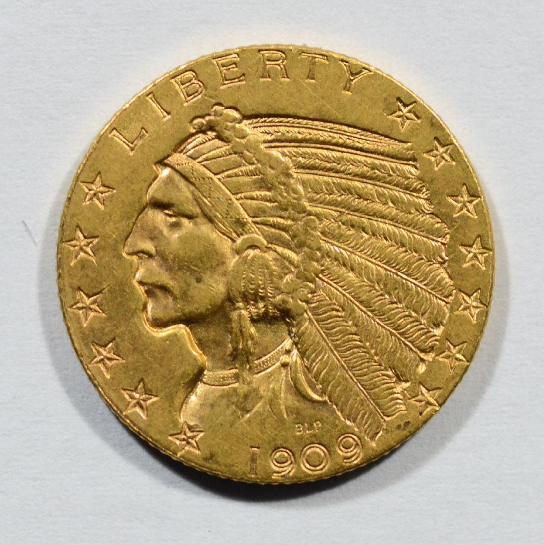 1909D Indian $5 gold coin, AU