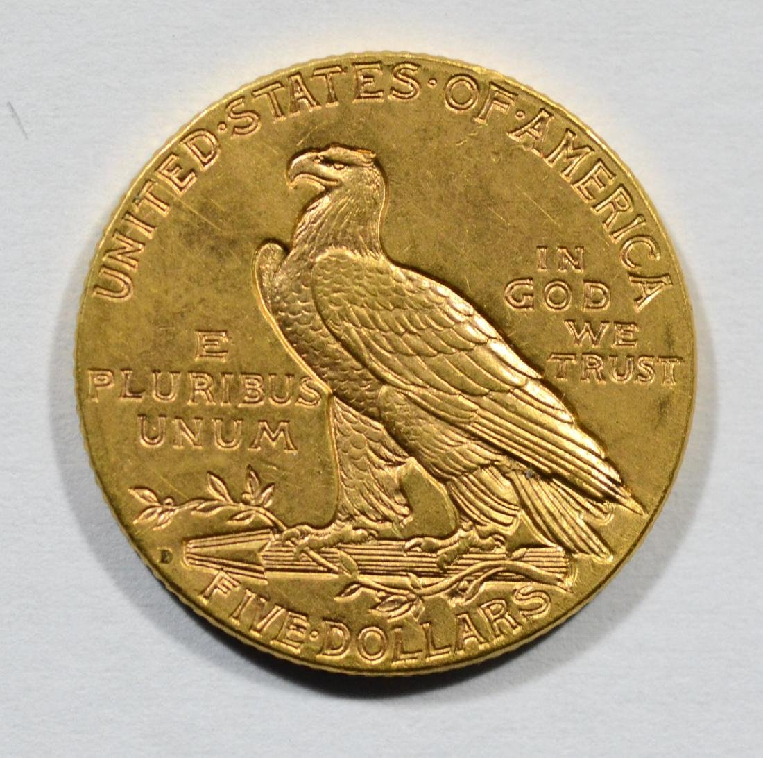 1909D Indian $5 gold coin, AU - 2