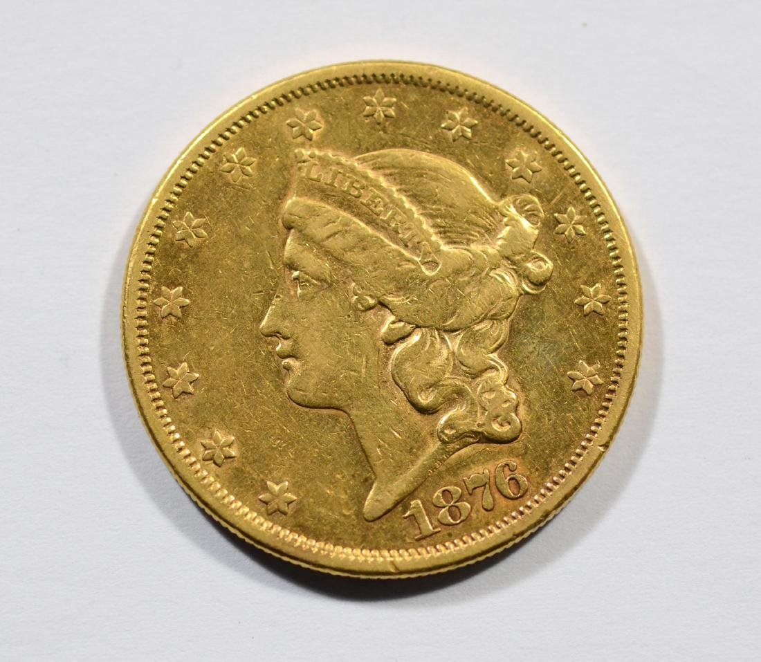 1876S $20 Liberty gold coin, EF
