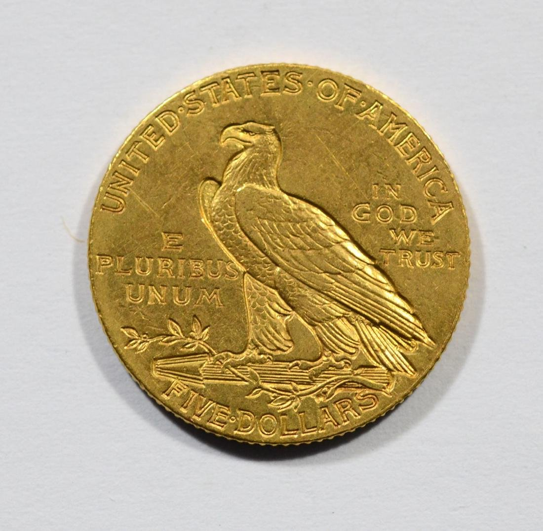 1908 $5 Indian gold coin, EF - 2