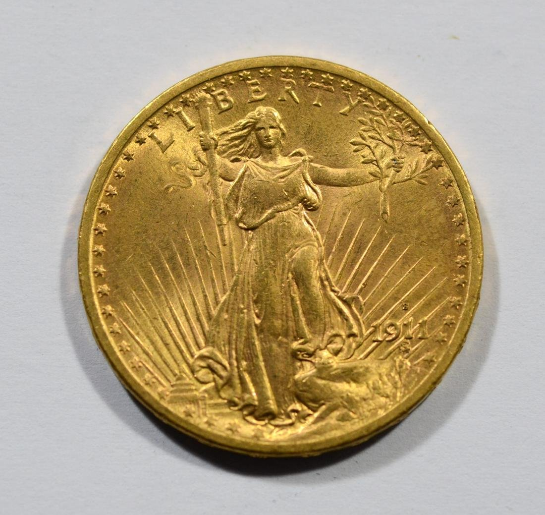 1911S $20 St Gaudens gold coin, EF