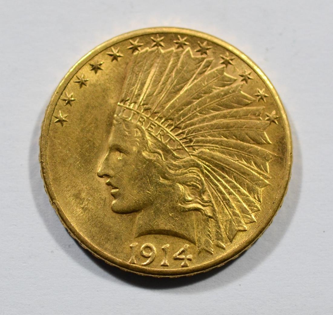 1914D $10 Indian gold coin, EF