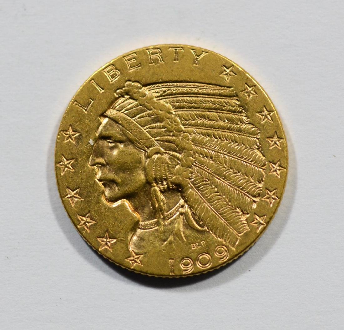 1909 $5 Indian gold coin, EF
