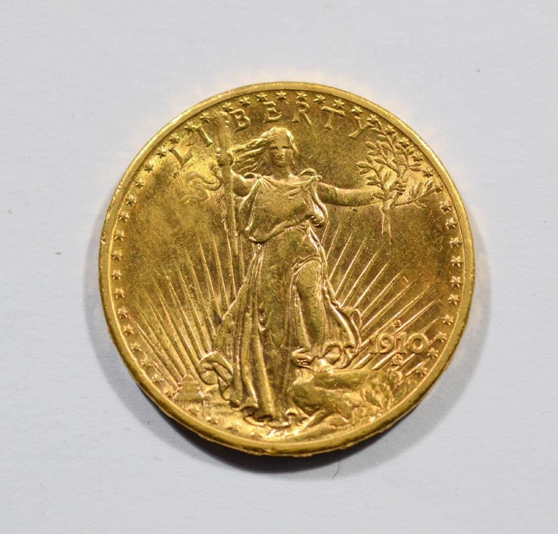 1910S $20 St Gaudens gold coin, AU