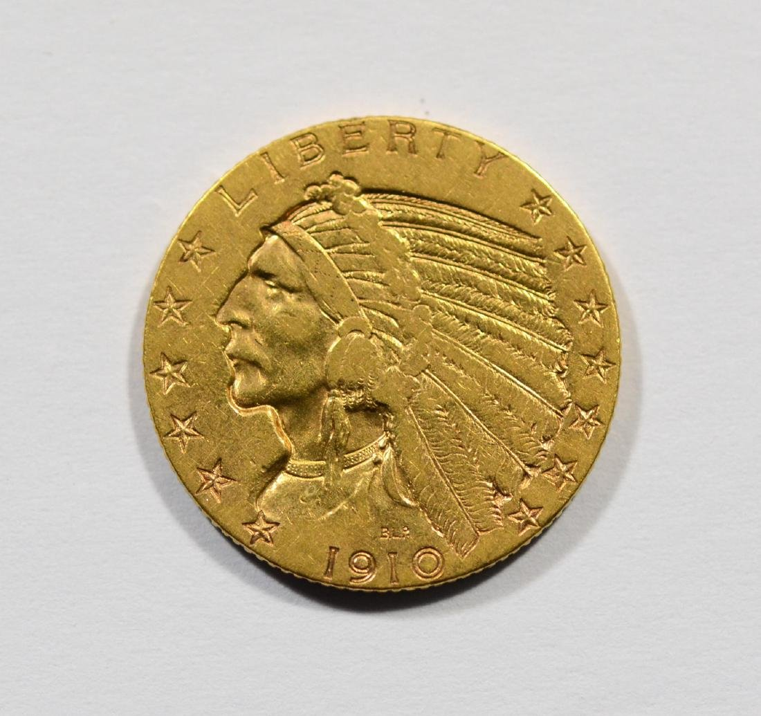 1910 $5 Indian gold coin, VF