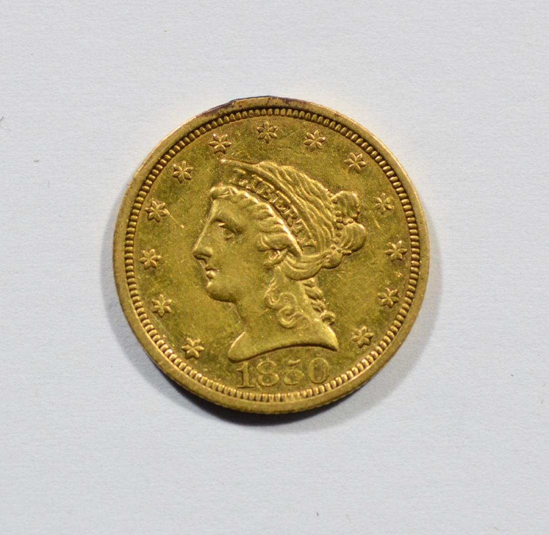 1850 $2 1/2 Liberty gold coin, VF