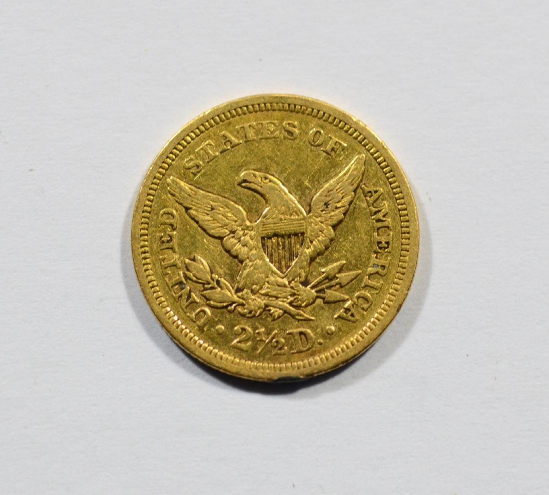 1850 $2 1/2 Liberty gold coin, VF - 2